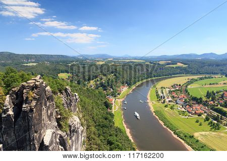 Panorama View From Rocks Bastei To River Elbe And Rathen, Saxon Switzerland