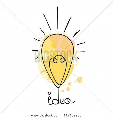 Idea illustration. Light bubl design. Vector business icon.