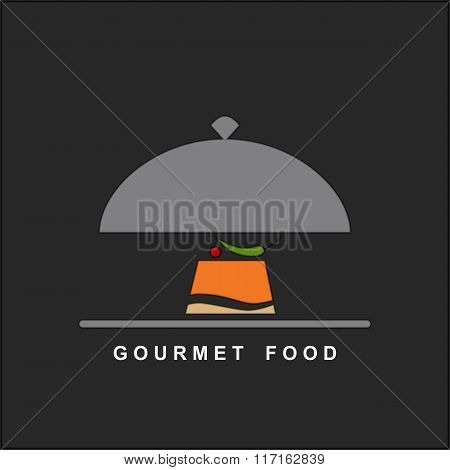 Vector gourmet food on a silver plate and serving dome.