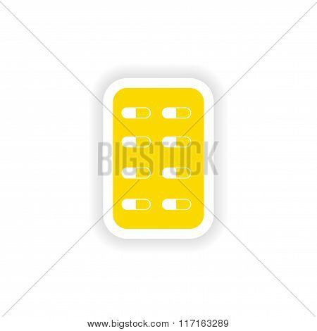 icon sticker realistic design on paper pills