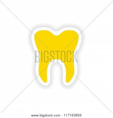 icon sticker realistic design on paper teeth