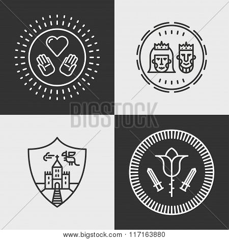 Set Of Line Art Flat Vector Fantasy Decorative Elements. King And Queen, Dragon, Castle, Love