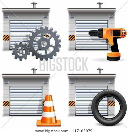 Vector Garage With Tools And Spares