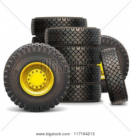 Vector Old Tractor Wheel Set 2