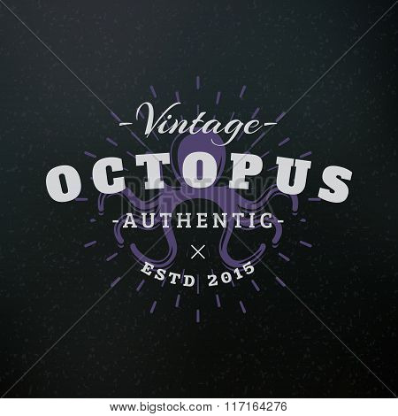 Octopus. Vintage Retro Design Elements For Logotype, Insignia, Badge, Label. Business Sign Template.
