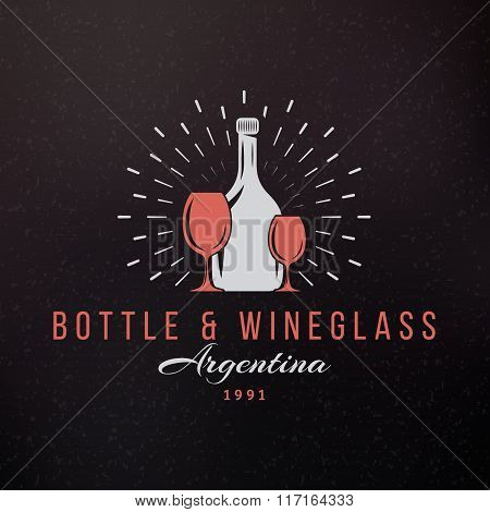Wine Glasses And Bottle. Vintage Retro Design Elements For Logotype, Insignia, Badge, Label. Busines
