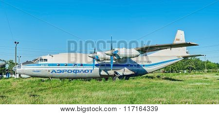 Panoramic View Of Old Soviet Aircraft An-12 Antonov At An Abandoned Aerodrome