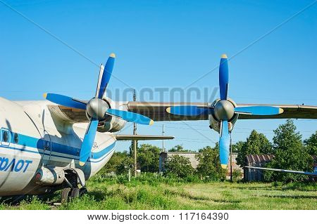 Turbines Of Turboprop Old Soviet Aircraft An-12 At An Abandoned Aerodrome