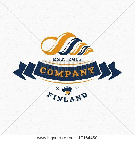 Sea Shell. Vintage Retro Design Elements For Logotype, Insignia, Badge, Label. Business Sign Templat