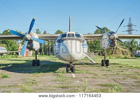 Panoramic View Of Old Soviet Aircraft An-24 Antonov At An Abandoned Aerodrome