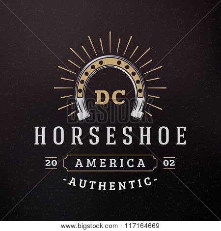 Horsehoe. Vintage Retro Design Elements For Logotype, Insignia, Badge, Label. Business Sign Template