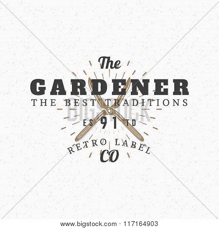 Gardening Scissors. Vintage Retro Design Elements For Logotype, Insignia, Badge, Label. Business Sig