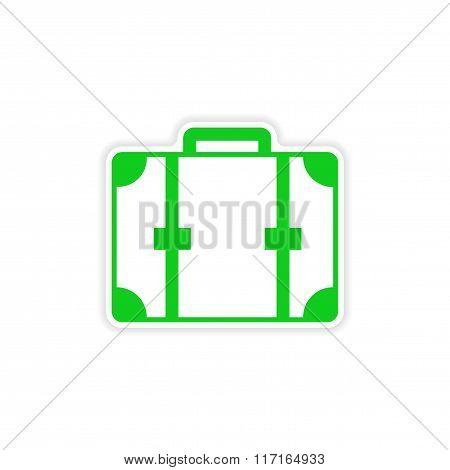 icon sticker realistic design on paper suitcase