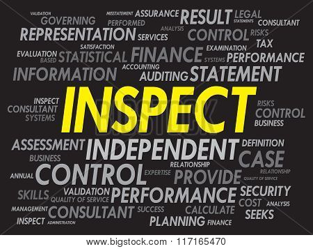 INSPECT word cloud business concept, presentation background