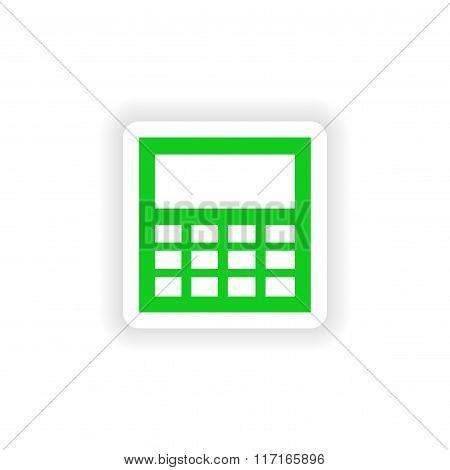icon sticker realistic design on paper calculator