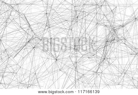 Black Wire-frame Mesh Over White Background, 3D
