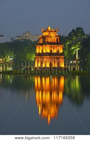The tower on the Hoankiem lake at night. Hanoi