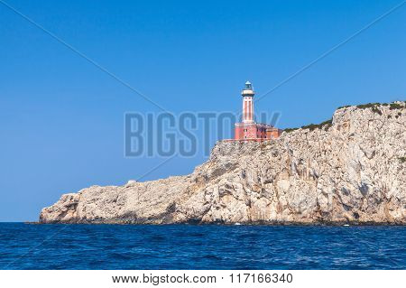 Punta Carena. Red Lighthouse Of Capri Island, Italy