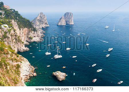 Capri Island, Italy. Mediterranean Sea. Coastal Landscape