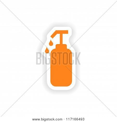 icon sticker realistic design on paper liquid soap