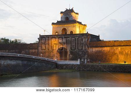 The citadel gate in the twilight. Vietnam