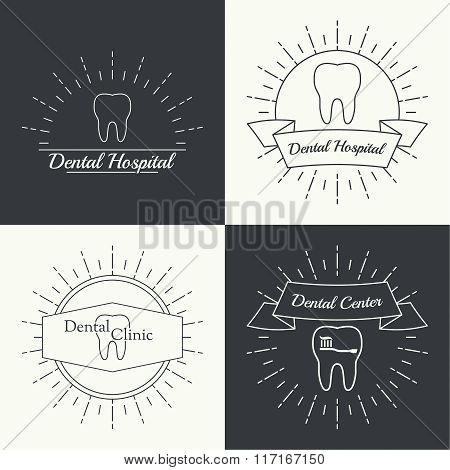 Vintage hipster banners, insignias, radial sunbusrt with tooth.