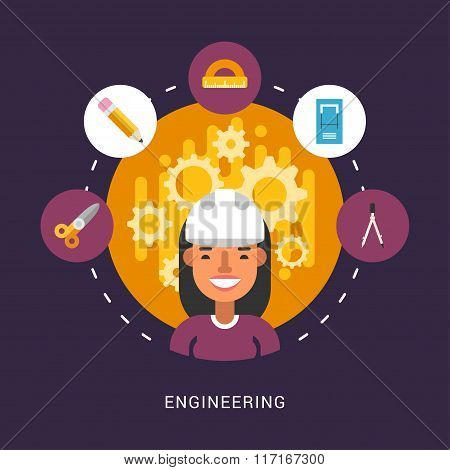 Building Icons And Objects In The Shape Of Circle. Engineer Female Cartoon Character. Vector Illustr