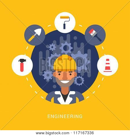 Building Icons And Objects In The Shape Of Circle. Engineer Male Cartoon Character. Vector Illustrat