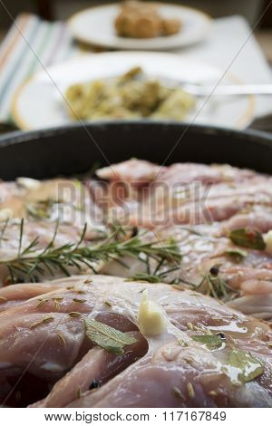 Pork Meat To Macerate With Wine And Aromatic Herb