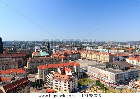 View Of Dresden Cityscape With Square Altmarkt (old Market) And Church Kreuzkirche