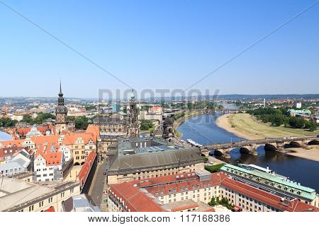 View Of Dresden Cityscape With River Elbe, Saxon Standehaus, Church Dresden Cathedral And Tower Haus
