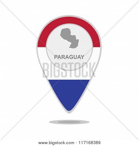 A pointer with map and flag of Paraguay