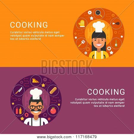 Flat Design Concept For Web Banners. Cooking. Food Icons And Objects In The Shape Of Circle. Chef. M