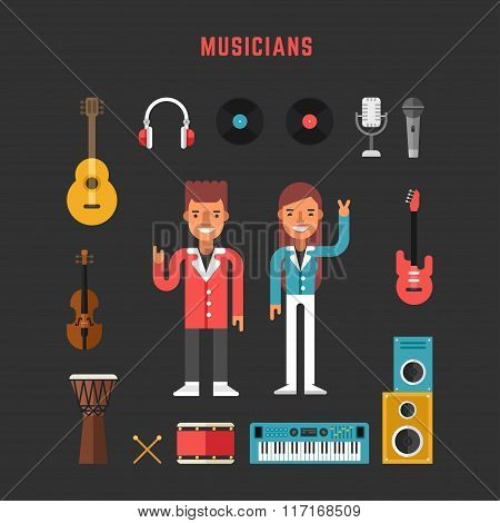 Set Of Vector Icons And Illustrations In Flat Design Style. Profession Musician. Male And Female Car