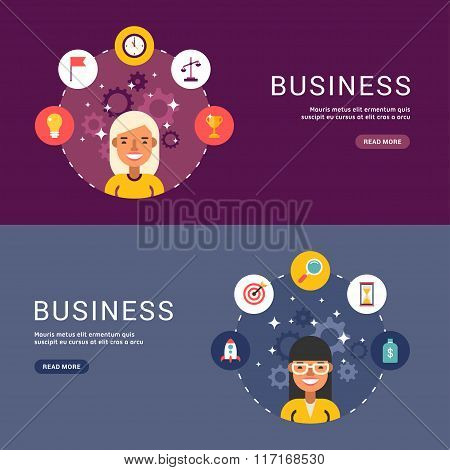 Flat Design Concept For Web Banners. Business Icons And Objects In The Shape Of Circle. Female Busin