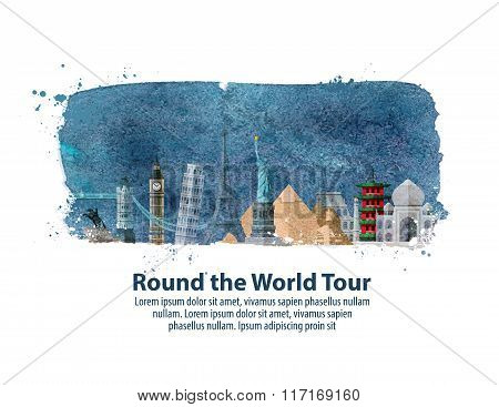 travel, journey. historic buildings of the world. vector illustration
