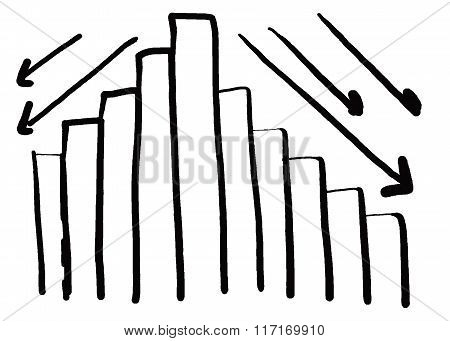 Business Bar Graph Create In The Hand Drawn Design And Down Arrow.
