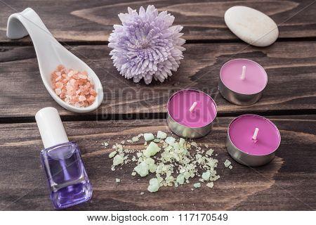 Spa Concept. Flower, Lavender Oil,candles, Aromatic Salt.selective focus