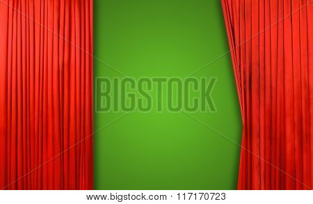 Red curtain on theater or cinema stage slightly open on green background