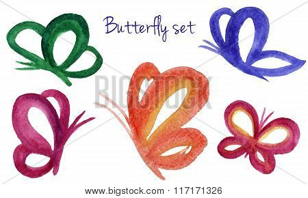 Butterfly watercolor hand drawn set