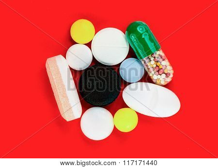 Various pills close up