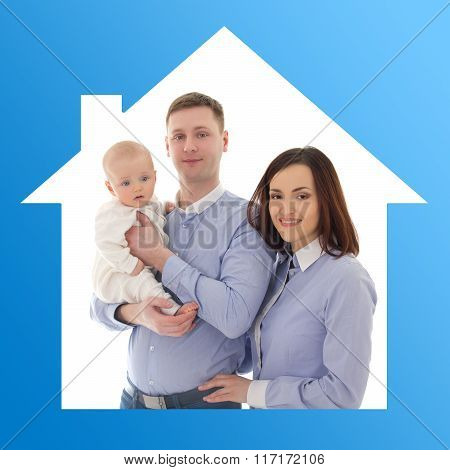 Home And Family Concept - Father, Mother And Son In Blue House