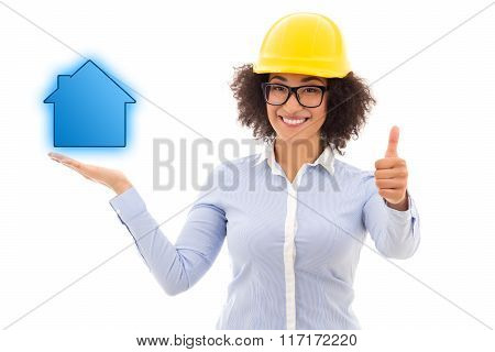 Construction Concept - Beautiful African American Business Woman In Builder Helmet Holding Little Ho