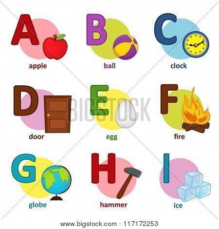 alphabet english from A to I