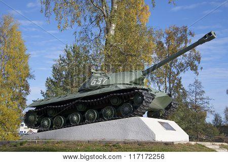 Tank-monument IS-3 sample 1945, october afternoon. Priozersk, Leningrad region