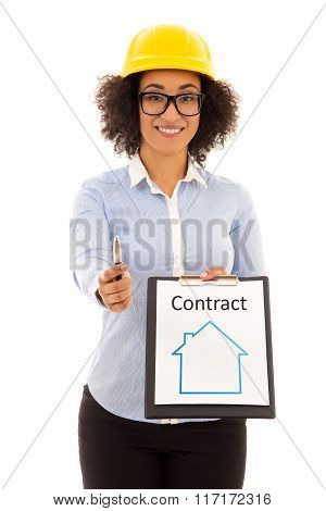 Construction And Real Estate Concept - African American Business Woman In Builder Helmet With Rent C