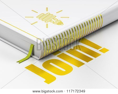 Finance concept: book Energy Saving Lamp, Join on white background