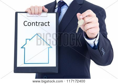 Real Estate Concept - Key And Rent Or Sale Contract In Male Hands Isolated On White