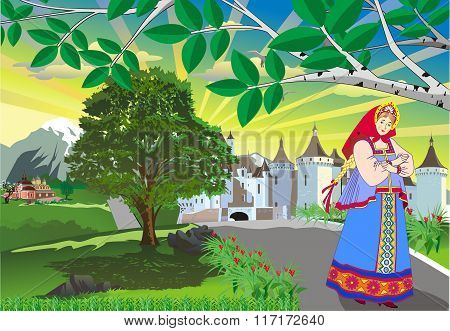 Landscape - Russian Girl In National Dress On The Background Of The Castle And Priory [