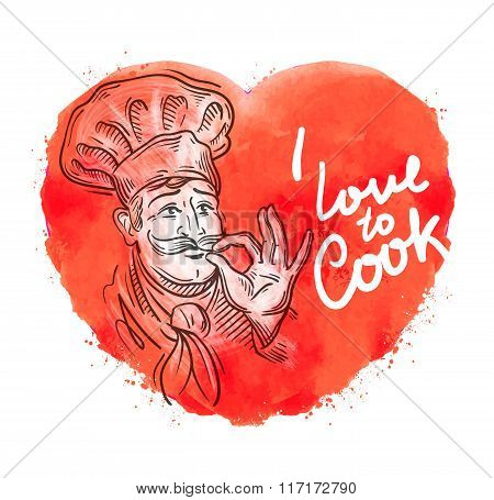 vector hand drawn cook, chef sketch and cooking, cuisine doodle